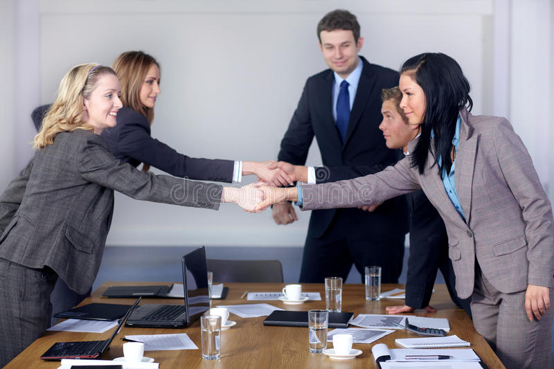 Welcome handshake before business meeting royalty free stock photography