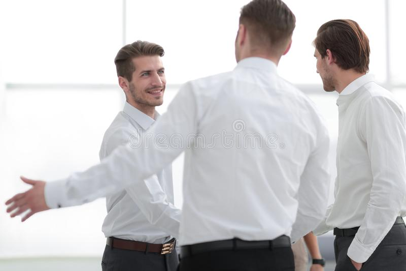 Welcome and handshake of business partners stock image