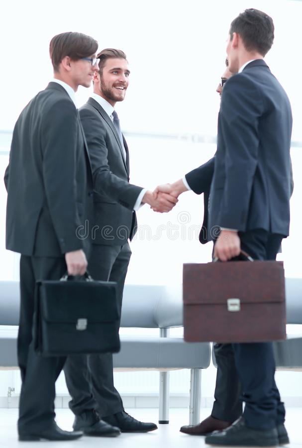 Welcome handshake of business partners royalty free stock photo