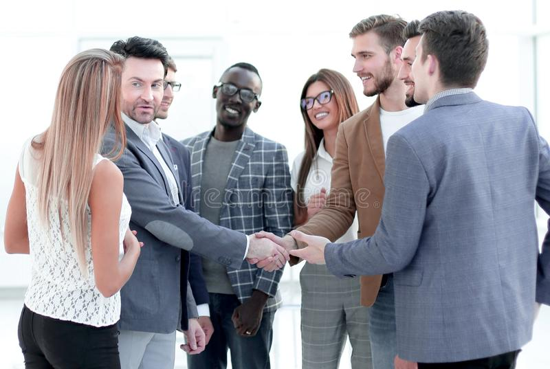 Welcome and handshake of business partners royalty free stock photography
