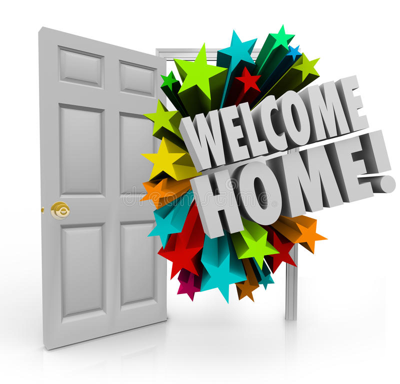 Free Welcome Home 3d Stars Open Door Greeting Homecoming Stock Photography - 46941552