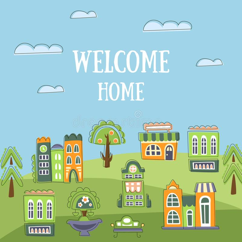 welcome home  travel card stock illustration  illustration