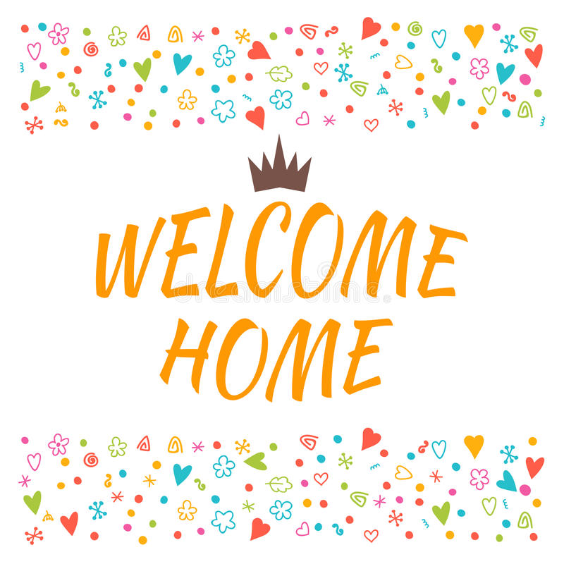Welcome Home Text With Colorful Design Elements. Cute Postcard ...
