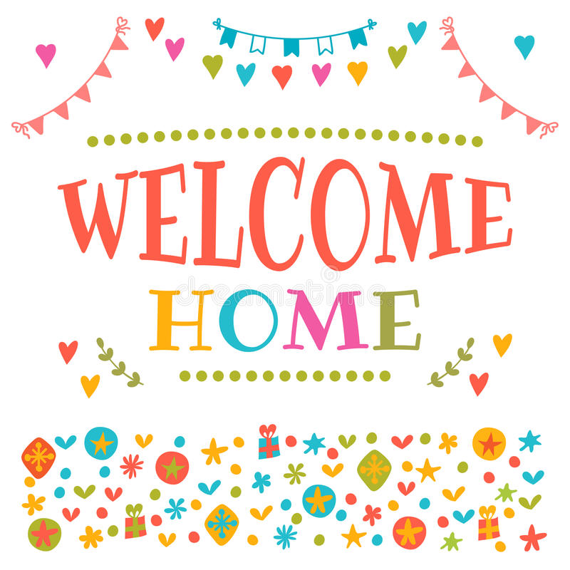 Welcome Home Text With Colorful Design Elements. Decorative Lett ...