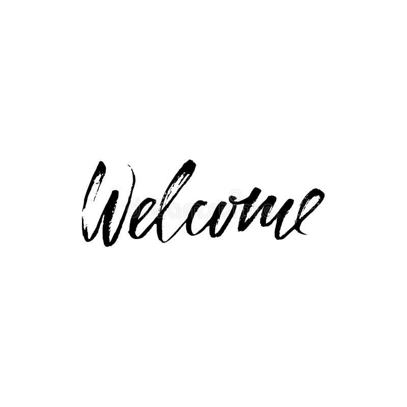 Welcome inscription. Hand drawn design elements. Black and white vector illustration. Handwritten dry brush inscription. royalty free illustration
