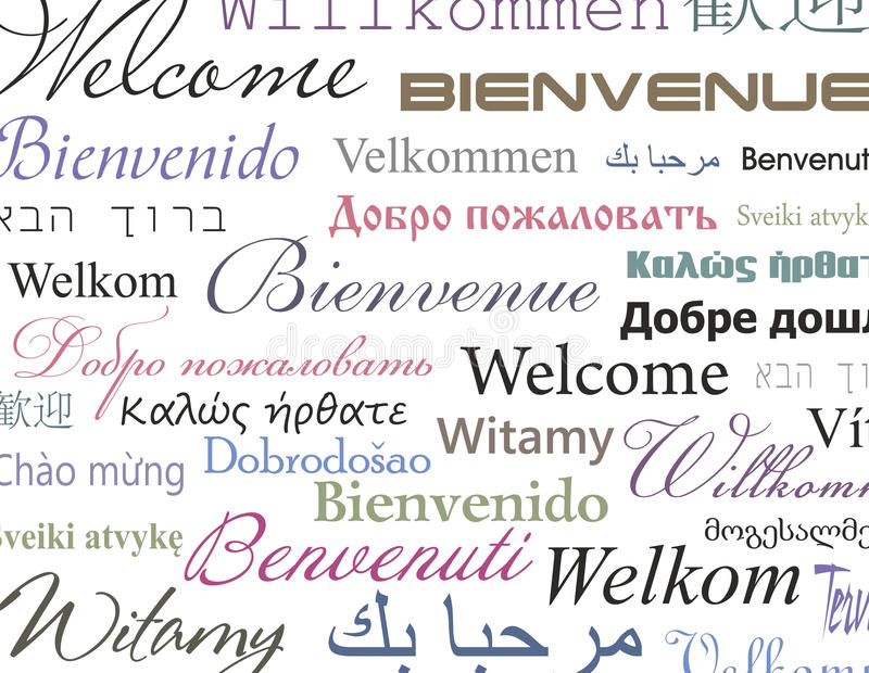 Welcome. The inscription for signs using different languages