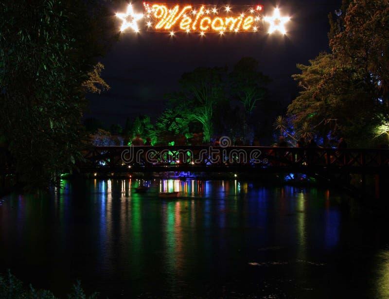 Download Welcome Lake stock image. Image of lake, night, park, bridge - 72137