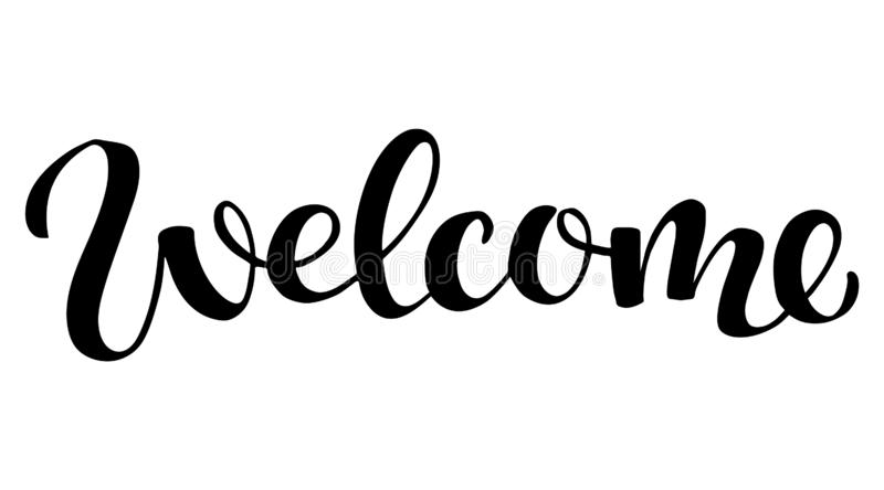 Welcome lettering sign, vector illustration stock illustration