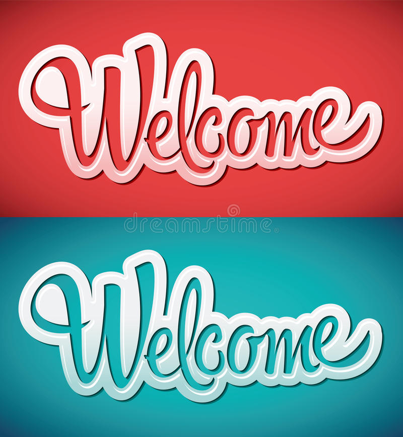 Welcome - lettering vector stock illustration