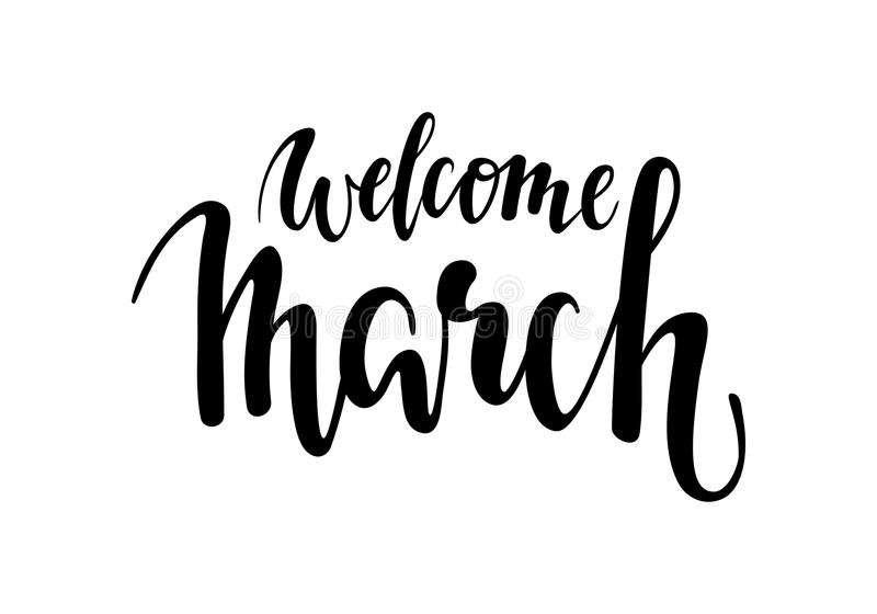 Happy spring hand drawn calligraphy and brush pen lettering