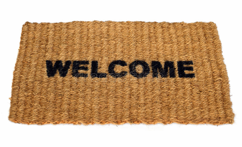 Welcome mat. Image of a straw welcome mat royalty free stock image