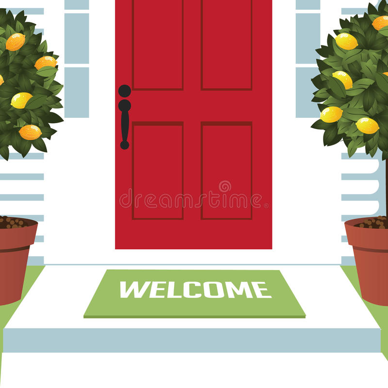 Welcome mat at front door. With lemon trees EPS 10 vector royalty free stock illustration for greeting card, ad, promotion, poster, flier, blog, article, open vector illustration