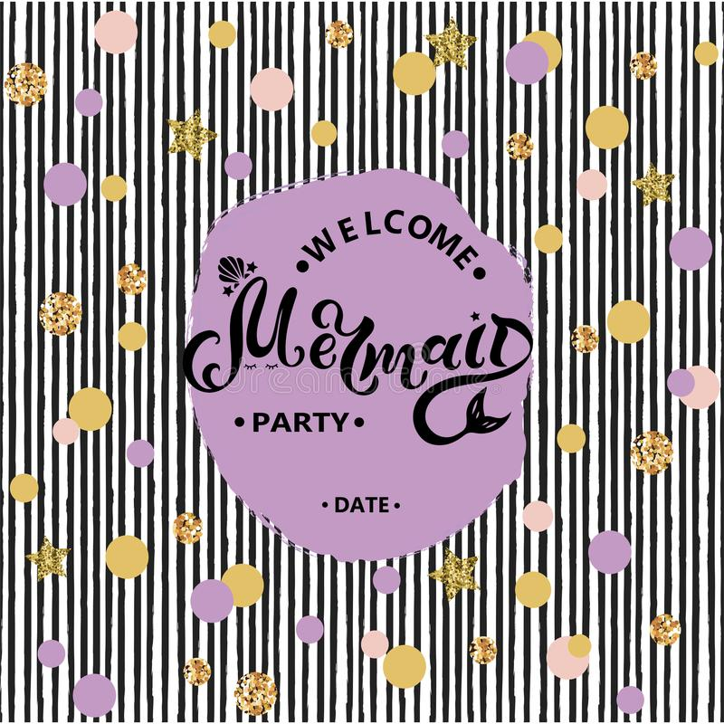 Welcome Mermaid Party text isolated on striped background. royalty free illustration