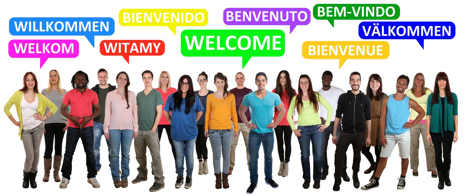 Welcome multi ethnic group of smiling young people saying refuge stock photo