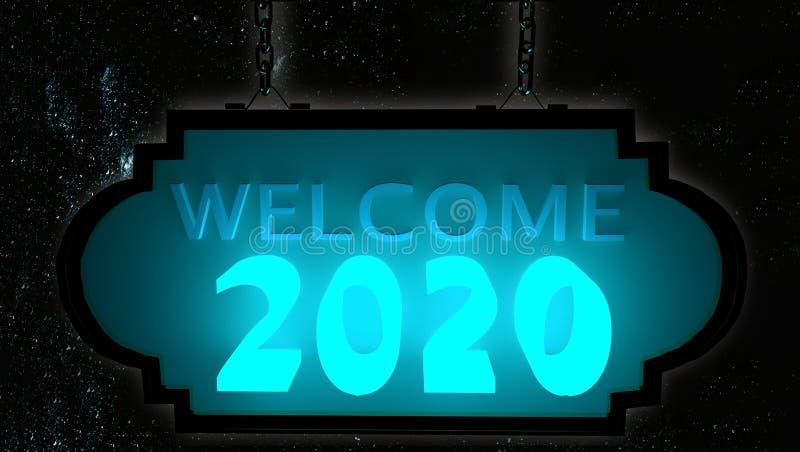 Welcome 2020 neon glow in black background  - 3d rendering vector illustration