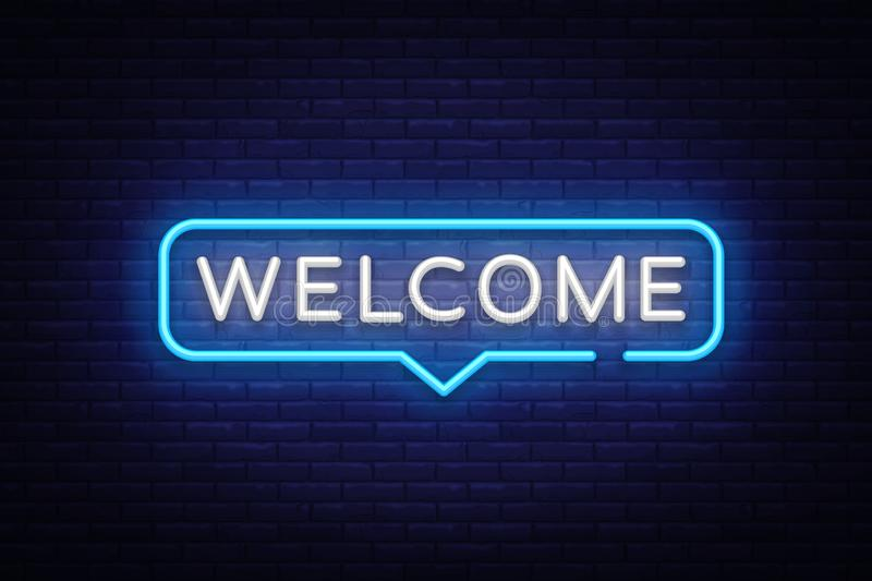 Welcome Neon Text Vector. Welcome neon sign, design template, modern trend design, night neon signboard, night bright. Advertising, light banner, light art royalty free illustration