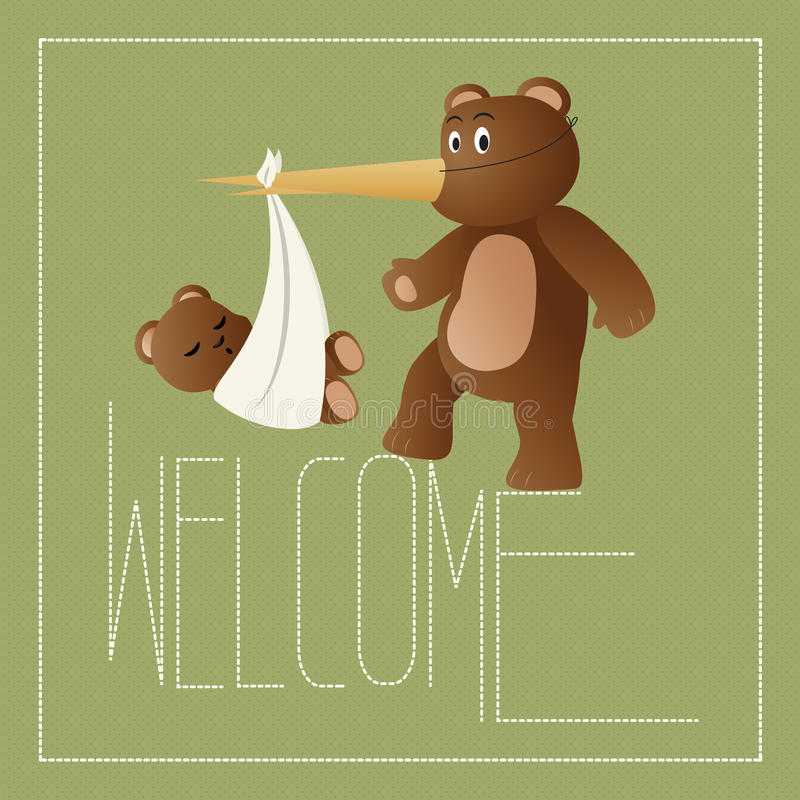 Download Welcome New Baby stock vector. Image of dots, bear, bird - 24577793