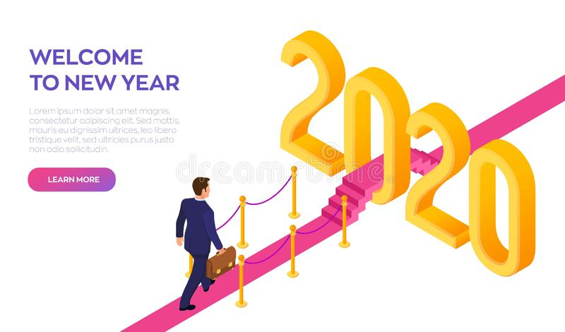 Welcome 2020. New Year. Path to New Year. Businessman with briefcase in hand walking on red carpet to the 2020 New Year. Creative vector illustration