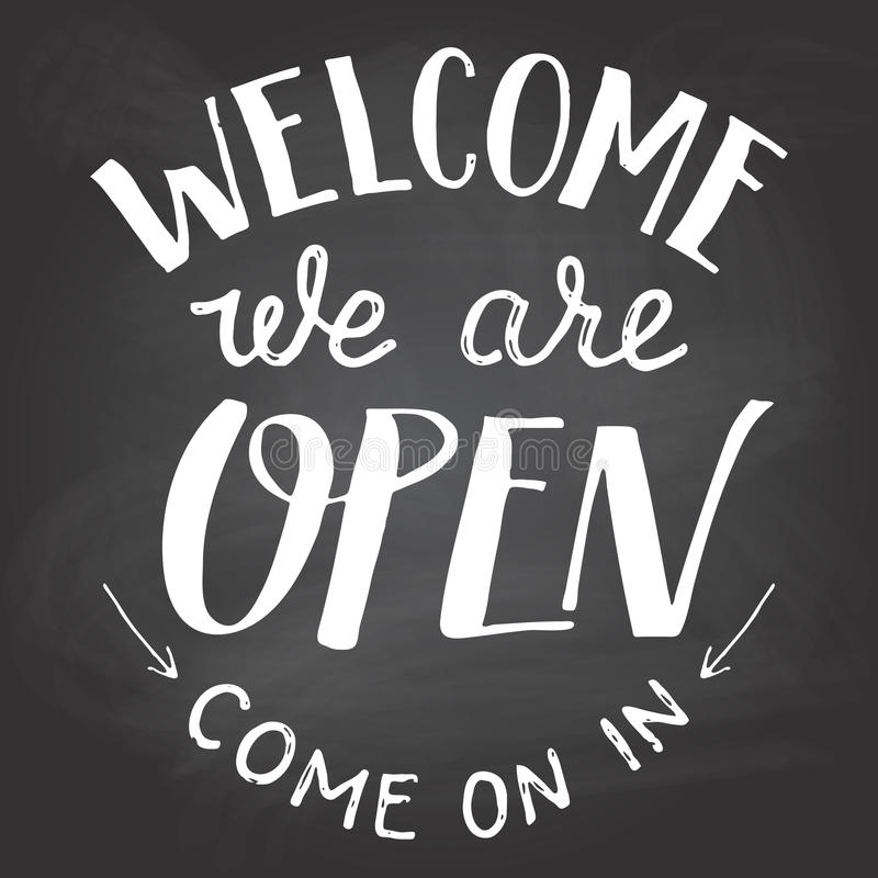 Welcome we are open chalkboard sign vector illustration