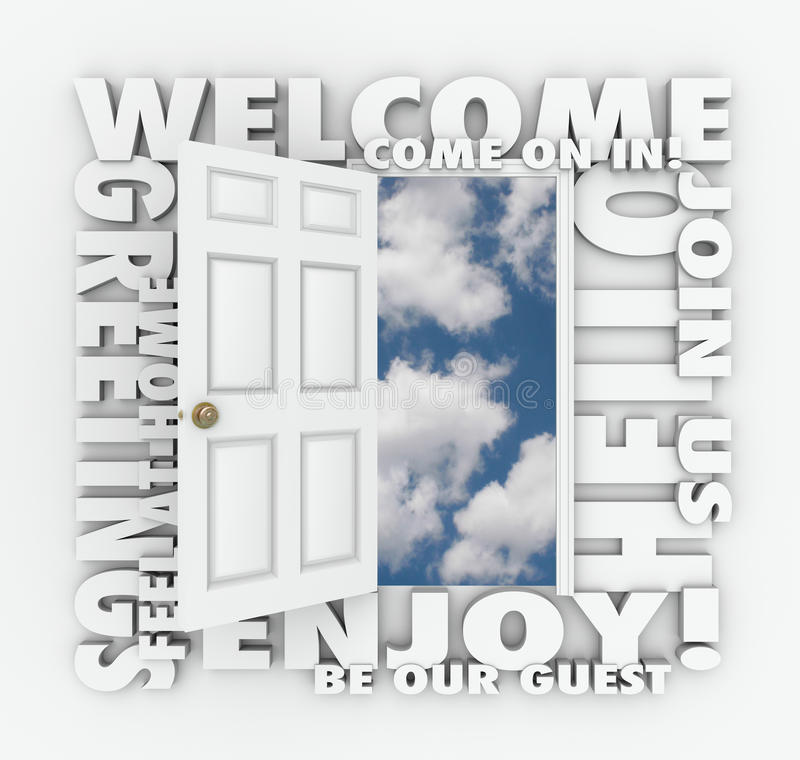 Welcome Open Door Hello Friendly Service Guest Invitation Words stock illustration