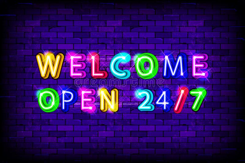 Welcome open 24 hours neon sign vector illustration