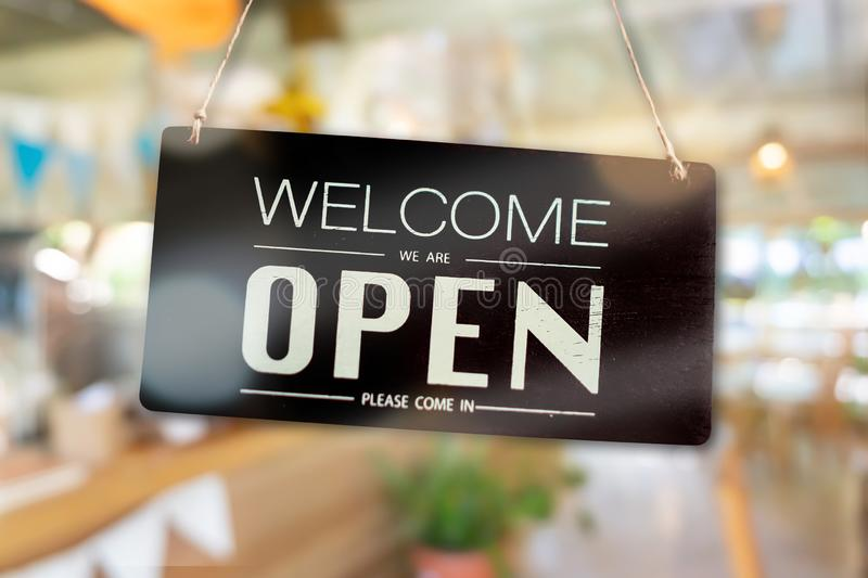 Welcome open sign for business background stock image