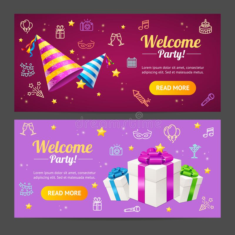 Welcome Party Template Card Horizontal Set. Vector vector illustration