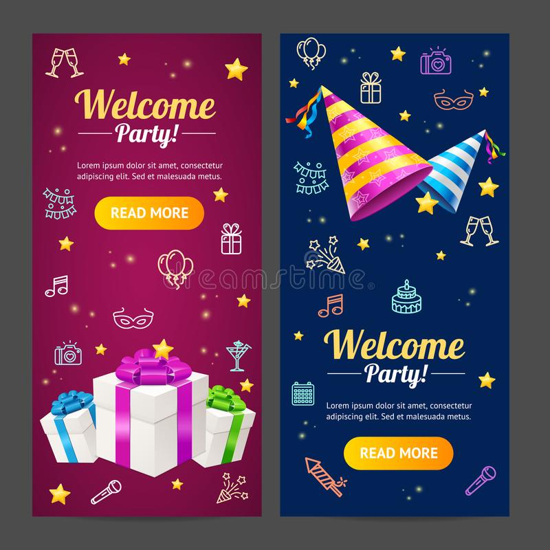 Welcome party template card vecrtical set vector stock vector download welcome party template card vecrtical set vector stock vector illustration of gift stopboris Image collections