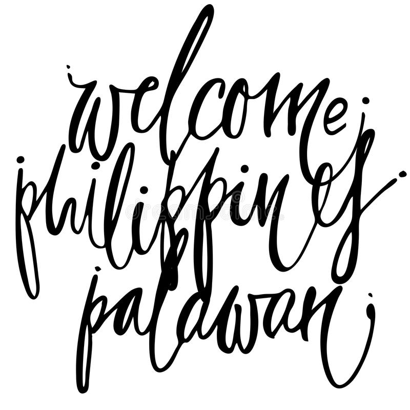 Welcome philippines hand lettering design for posters. Tropical paradise hand lettering design for posters, t-shirts, cards, invitations, stickers, banners royalty free illustration