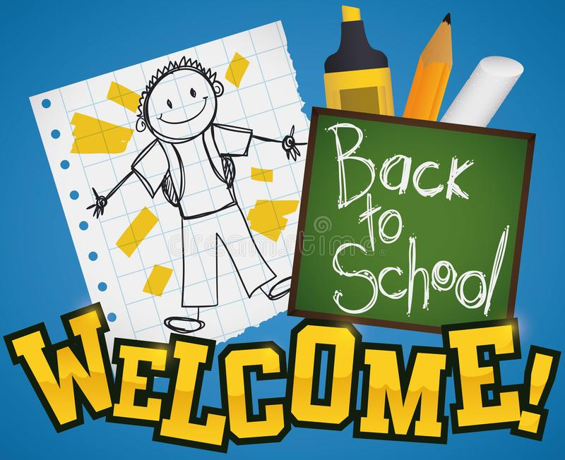 Cute Doodle Drawing and School Supplies for Back to School, Vector Illustration stock illustration