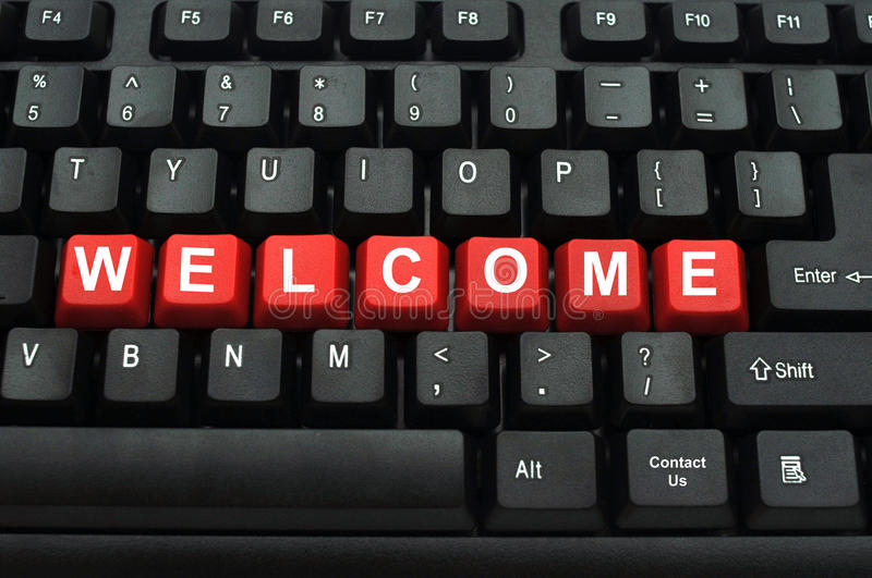Welcome red button on black keyboard royalty free stock images