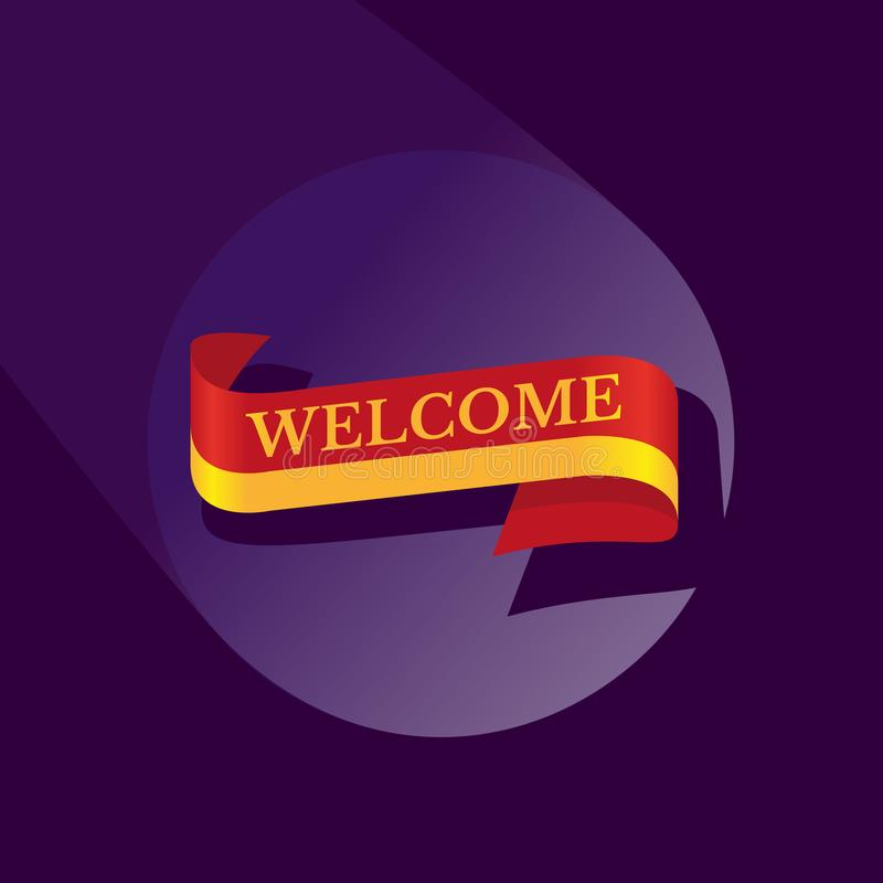 Welcome ribbon icon royalty free illustration
