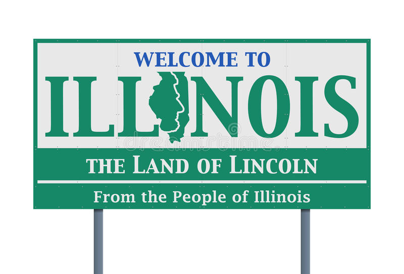 Welcome road sign of the state of Illinois. Vector illustration of the welcome state of Illinois road sign royalty free illustration