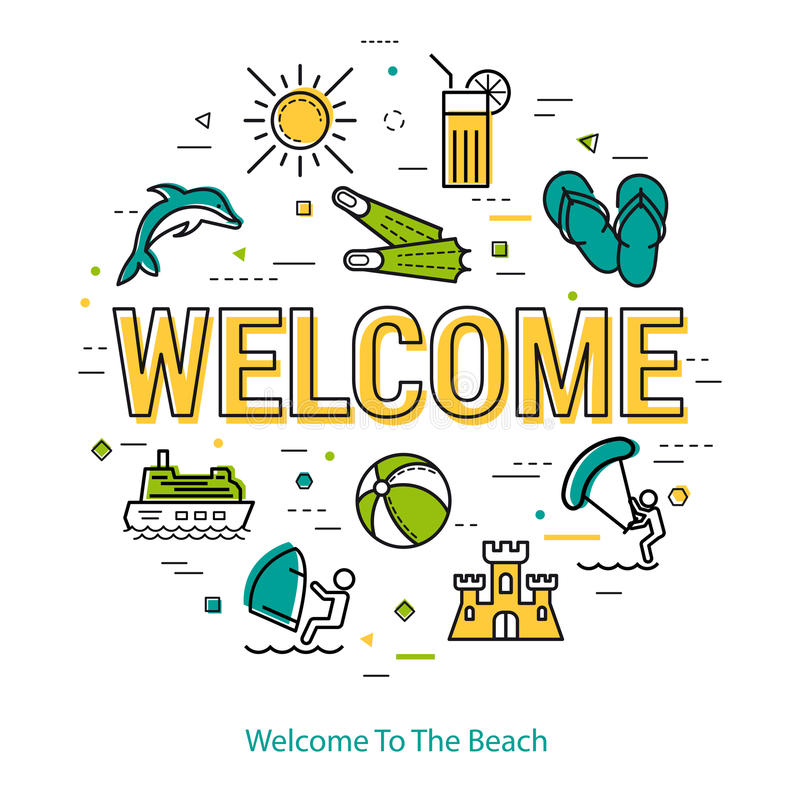 Free Welcome - Round Linear Concept Royalty Free Stock Images - 92287139