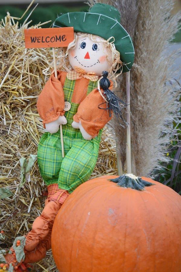 Welcome Scarecrow and Pumpkin fotos de archivo libres de regalías