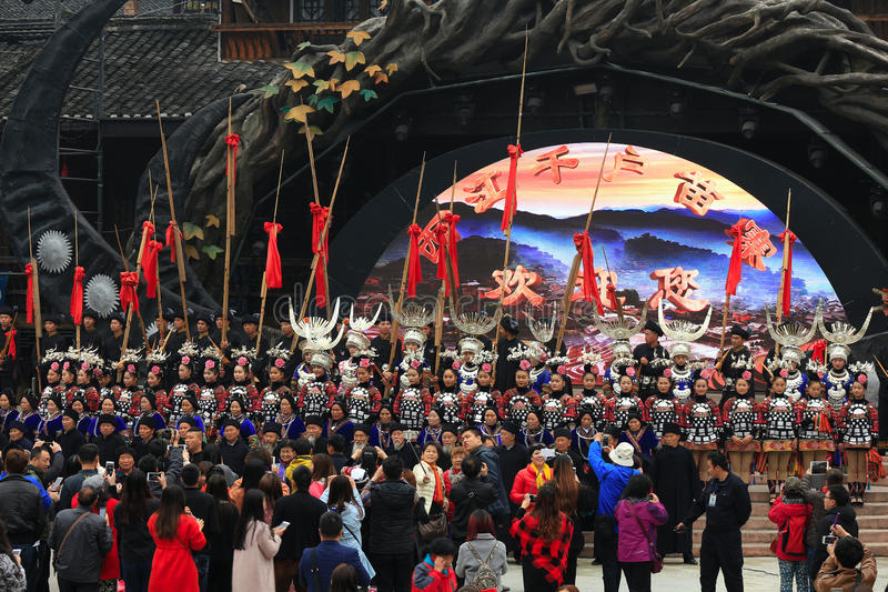 The welcome show in the thousand miao villages XiJiang. royalty free stock photos