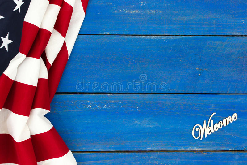 Welcome sign with Amerian flag border stock photos