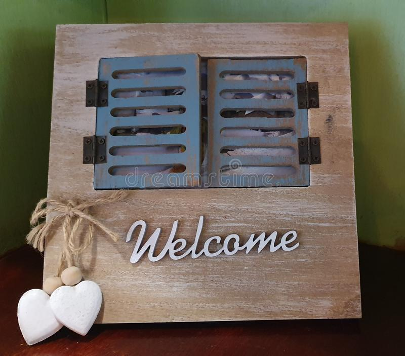 Welcome Sign as Home Decoration stock photos