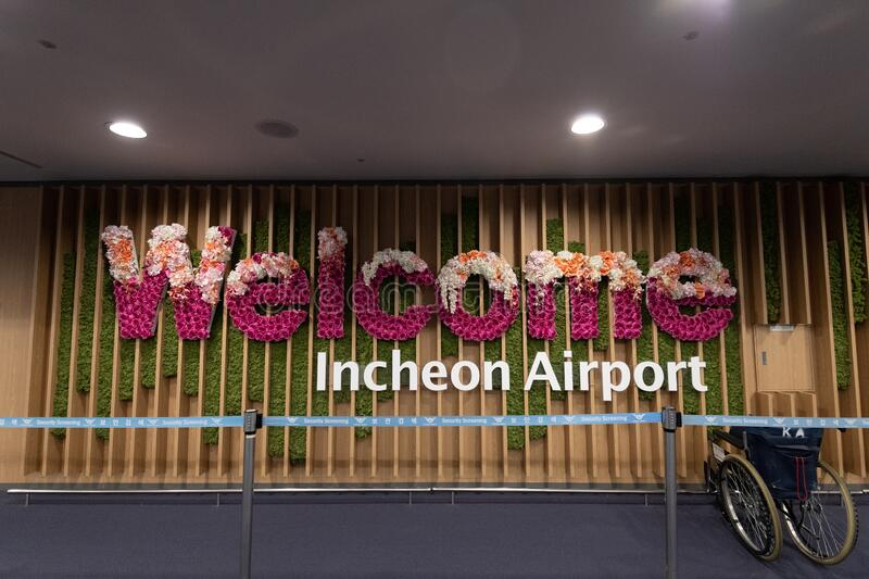 Welcome sign at Incheon Airport in Seoul Korea stock photos