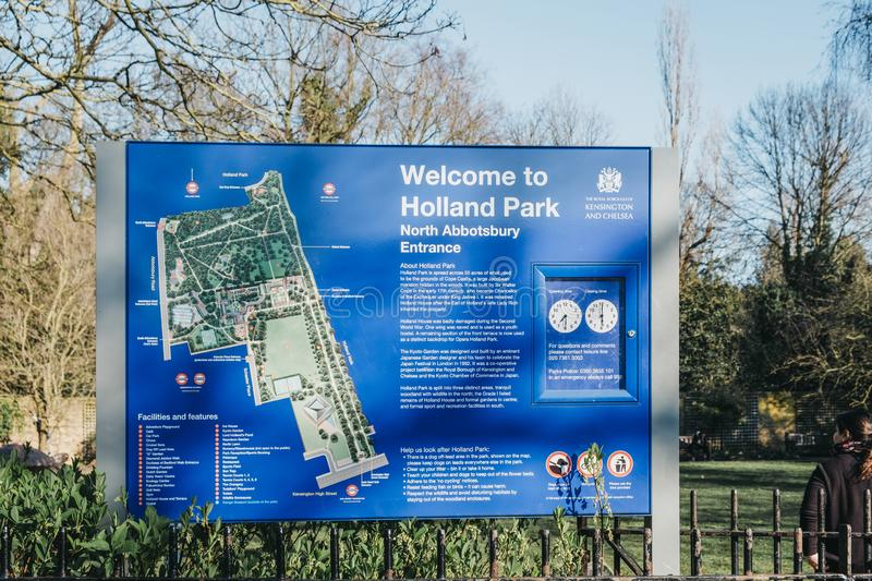 Welcome sign by North Abbotsbury entrance to Holland Park, London, UK royalty free stock photos