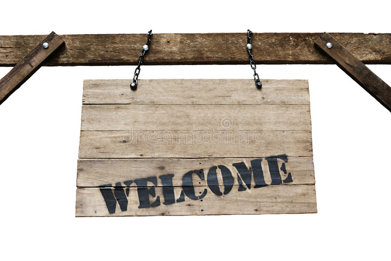 Welcome sign on old wooden signboard with chains in white background. stock image