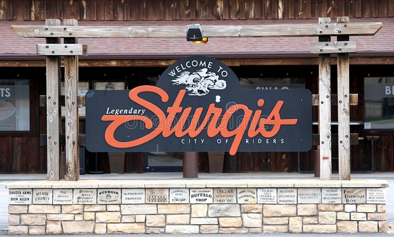 Welcome Sign Sturgis, South Dakota. Welcome to Legendary Sturgis City of Riders sign.  Sturgis, South Dakota boasts the longest running motorcycle rally in the royalty free stock image