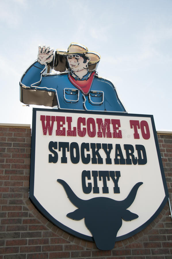 Welcome sign to the Stockyard city. This is the welcome sign to the Stock yard city in Oklahoma City. It is a neon sign royalty free stock image