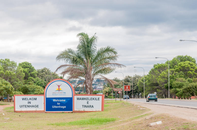 Welcome sign for Uitenhage. UITENHAGE, SOUTH AFRICA - MARCH 7, 2016: Welcome sign at the entrance of Uitenhage, an industrial town in the Nelson Mandela Bay stock image