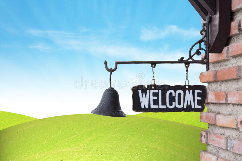 Download Welcome Sign on wall stock image. Image of wall, medium - 23437155