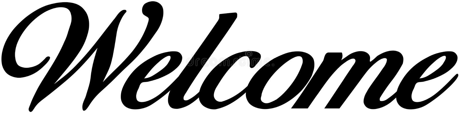 Welcome sign. Welcome scrip sign uppercase Decorative stock illustration