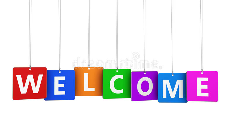 Welcome Sign. Welcoming and greetings concept with welcome word and sign on colorful hanged tags isolated on white background vector illustration