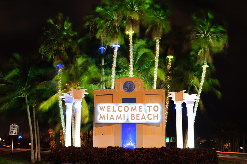Welcome signboard. In Miami beach stock images