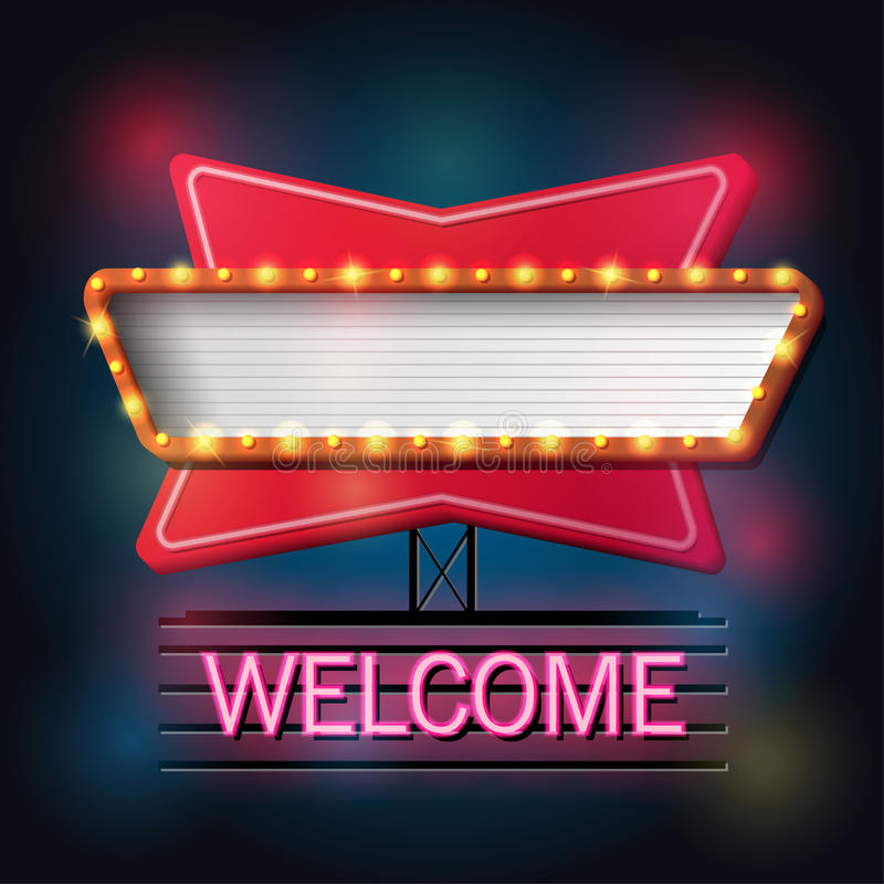 Welcome signboard retro style with light frame stock illustration