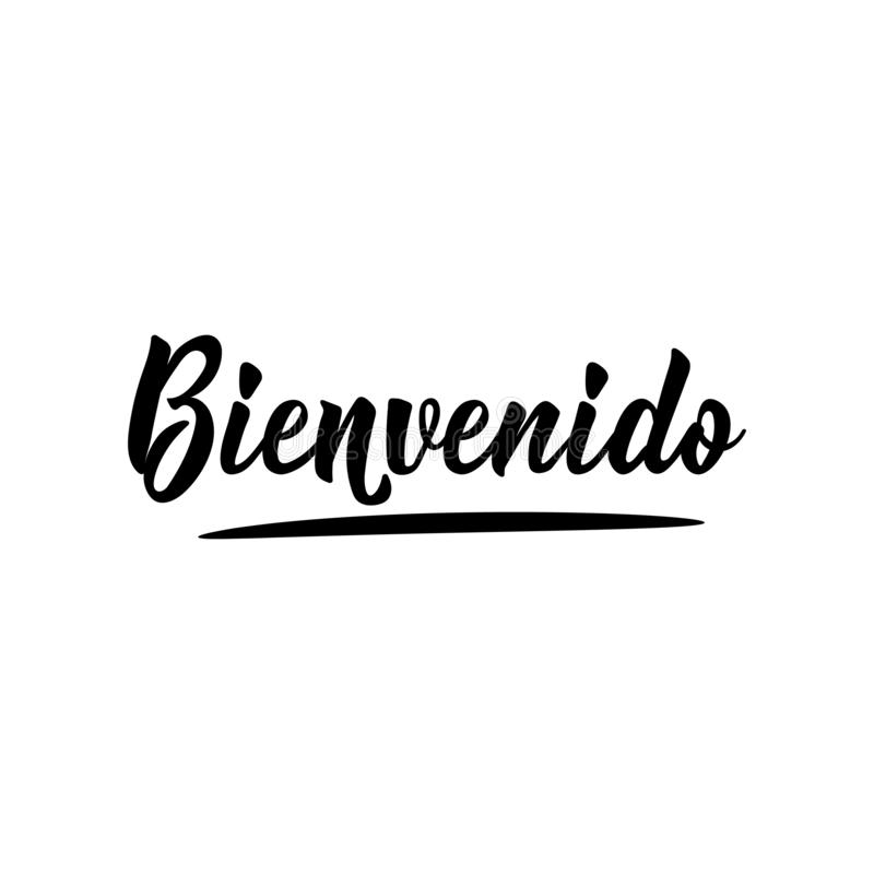 Welcome - in Spanish. Lettering. Ink illustration. Modern brush calligraphy. Bienvenido royalty free illustration